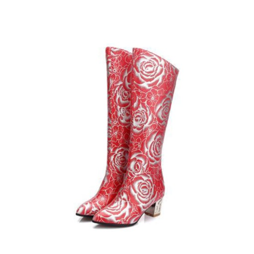 Floral Chunky Heel Back Zip Pointed Toe Floral Vintage Mid Calf Boots