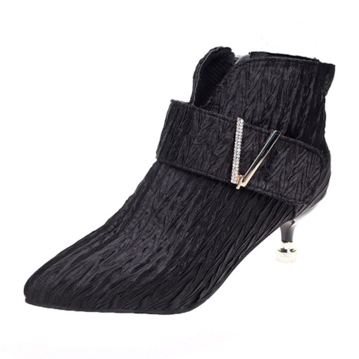 Plain Pointed Toe Side Zipper Stiletto Heel Pointed Toe Ankle Boots