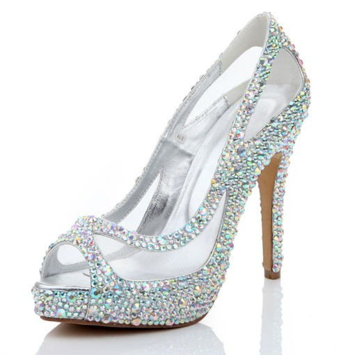 Stiletto Heel Heel Covering Slip-On Peep Toe Platform Prom Shoes