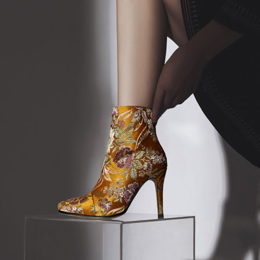 Floral Embroidered Side Zipper Pointed Toe Silk Fabric Ankle Boots