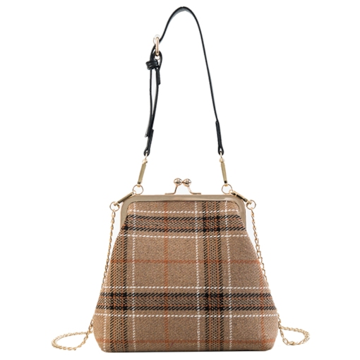 Chain Plaid Wool Blends Barrel-Shaped Tote Bags