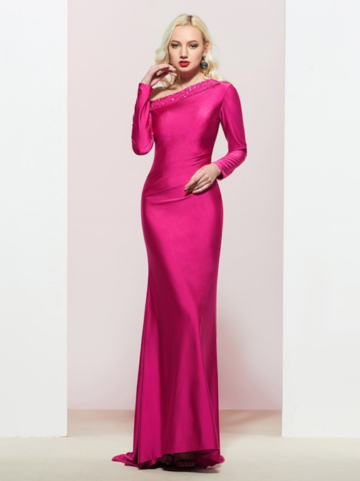 Beading One Shoulder Sheath Long Sleeves Evening Dress 2019