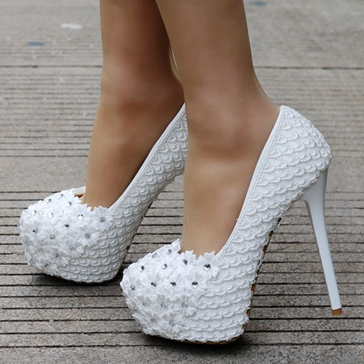 Appliques Slip-On Round Toe Stiletto Heel Customized Wedding Shoes
