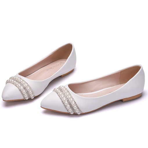 Rhinestone Slip-On Pointed Toe Block Heel Flat Wedding Shoes