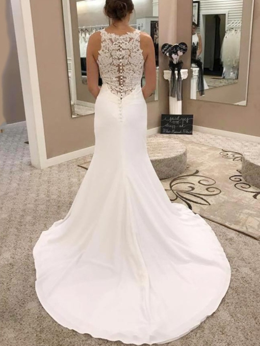 Button Mermaid Lace Appliques Wedding Dress 2019