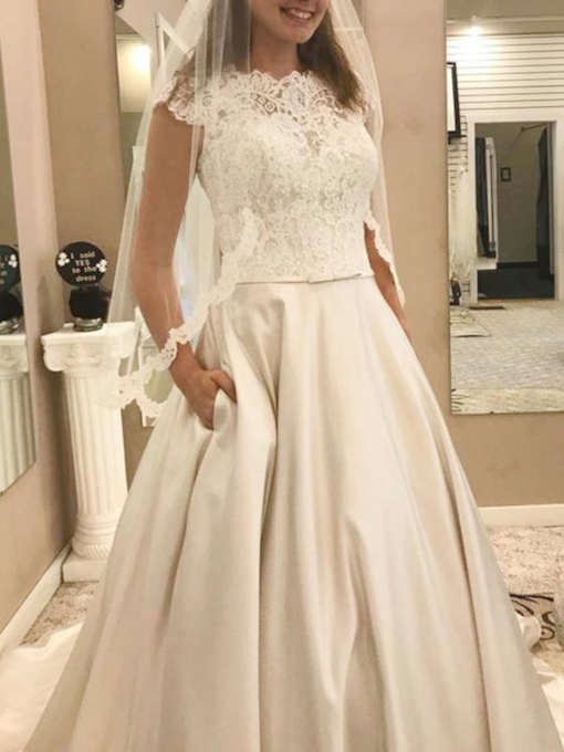 Pockets Bowknot Cap Sleeves Lace Wedding Dress