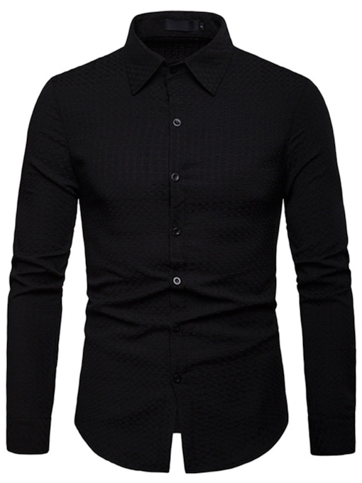 Plain Lapel Casual Slim Men's Shirt