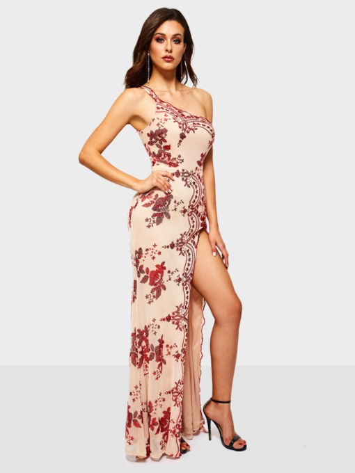 Oblique Collar Embroidery Sleeveless Floral Women's Maxi Dress