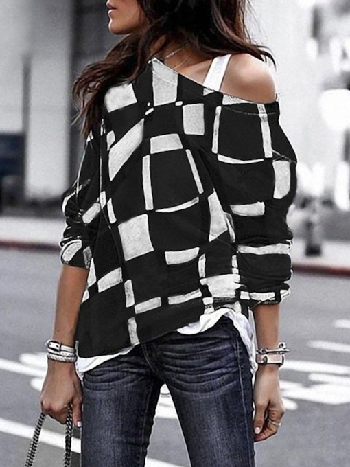 Plaid Long Sleeve Standard Fall Women's T-Shirt