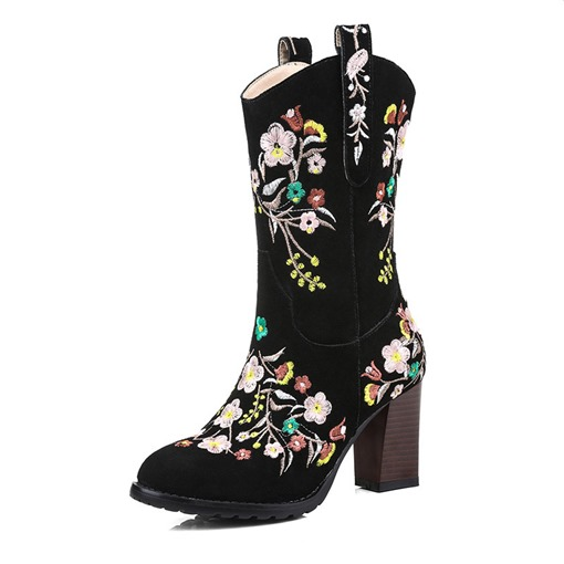 Embroidered Round Toe Chunky Heel Side Zipper Short Floss Mid Calf Boots