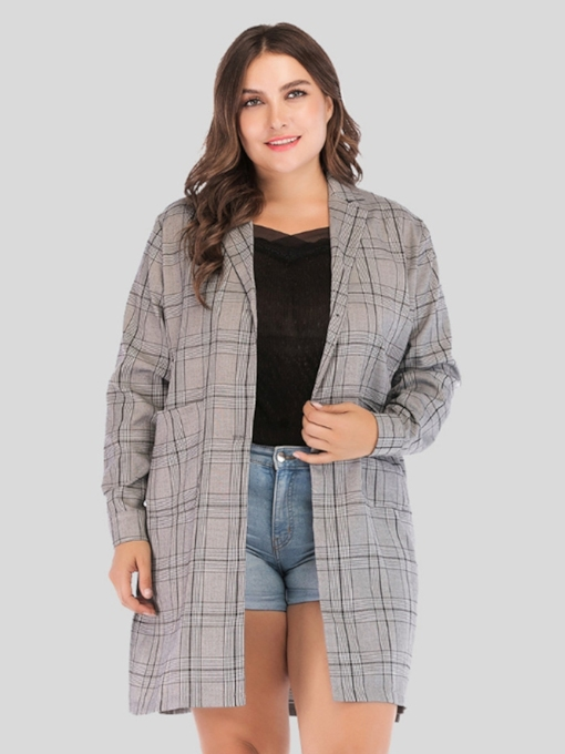 Mid-Length Notched Lapel Plaid Plus Size Women's Trench Coat