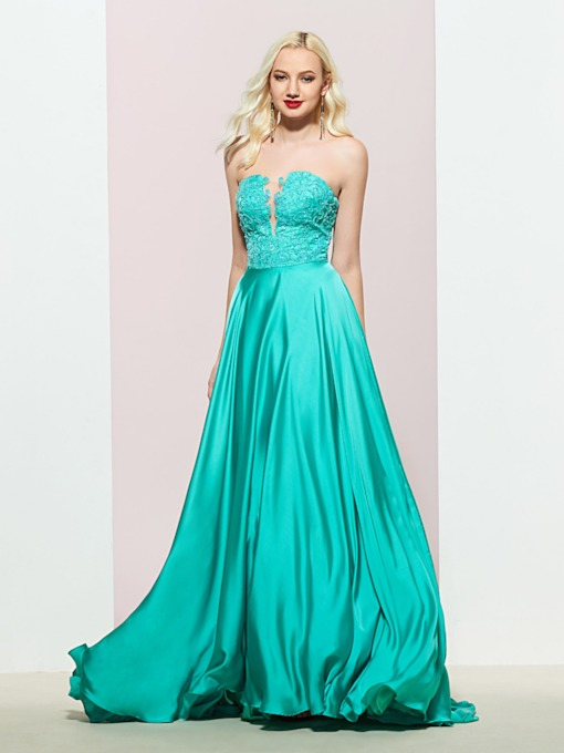 Sleeveless Appliques Floor-Length A-Line Prom Dress