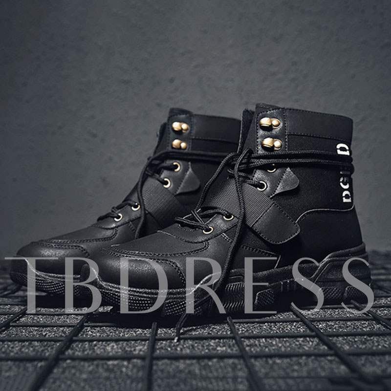 Lace-Up Front Round Toe Patchwork Men's Boots