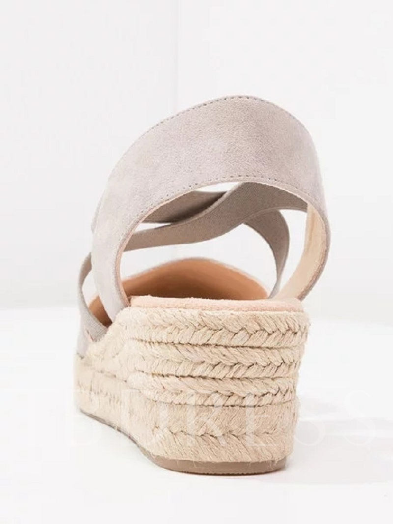 Elastic Band Closed Toe Wedge Heel Vintage Espadrille Sandals