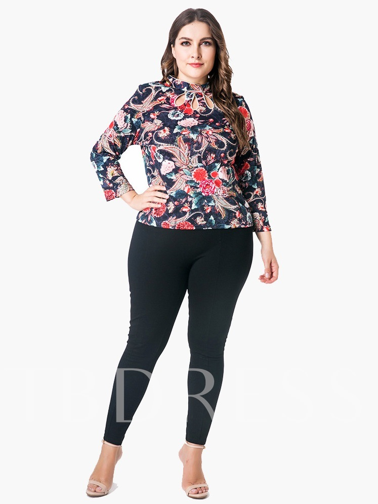 Stand Collar Floral Plus Size Women's Blouse