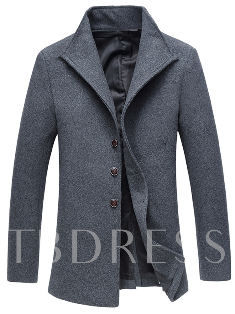 Stand Collar Plain Slim Men's Wool-blend Coat