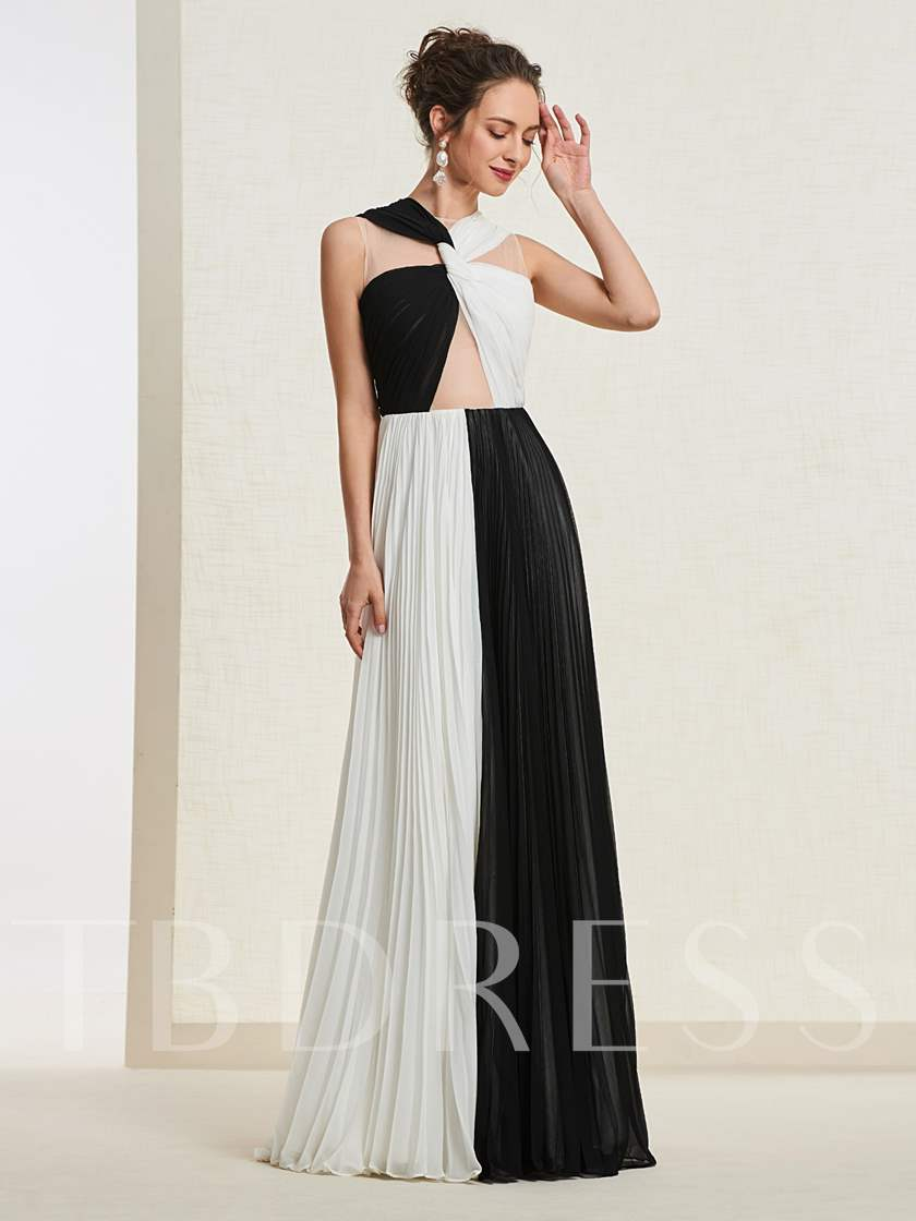 Pleats Contrast Color Evening Dress 2019