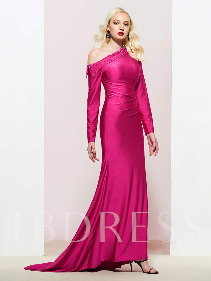Beading One Shoulder Sheath Zipper-Up Long Sleeves Evening Dress