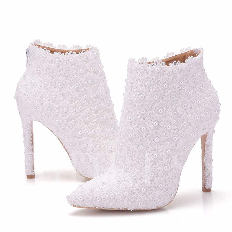 Back Zip Pointed Toe Stiletto Heel Beads Wedding Boots
