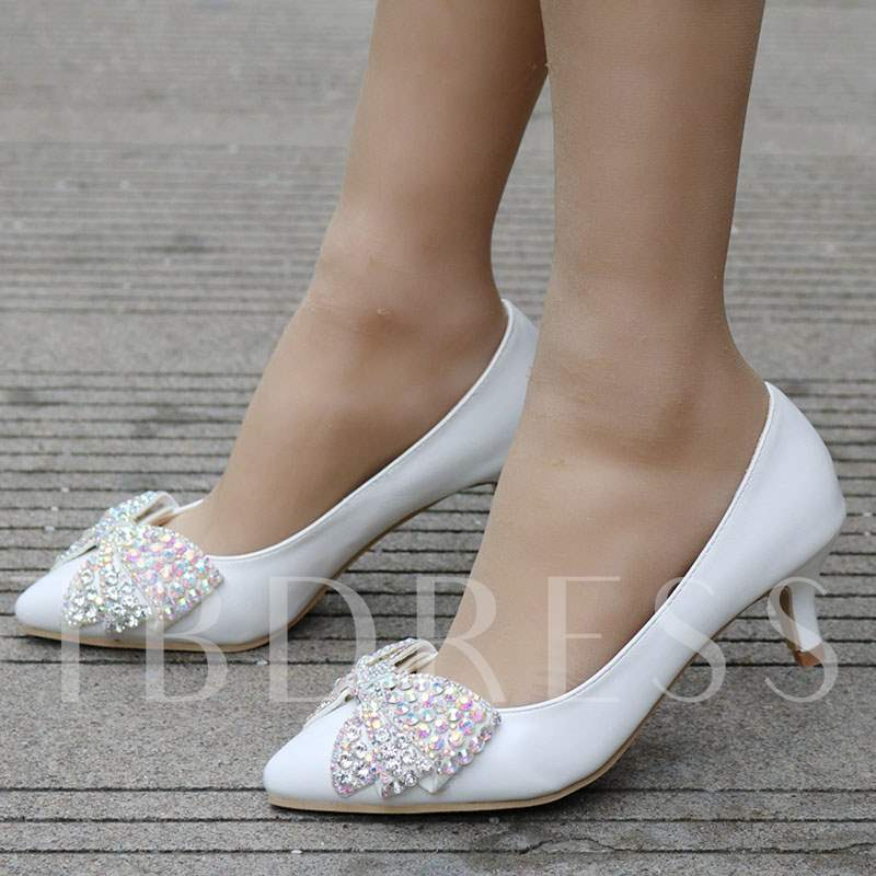 Slip-On Pointed Toe Rhinestone Low Heel Wedding Shoes