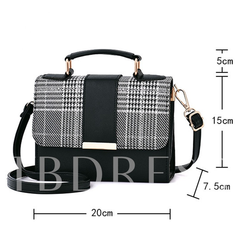Patchwork Houndstooth PU Square Tote Bags