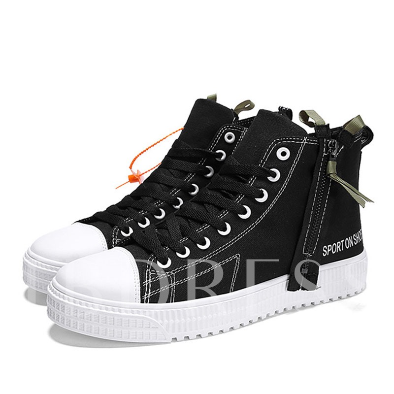Patchwork Lace-Up High-Cut Upper Round Toe Canvas Skate Shoes