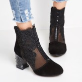 Floral Embroidery Lace Rhinestone Women's Black Ankle Boots