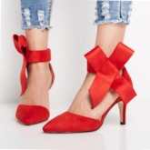 Pointed Toe Shoe Big Bow Velcro High Heels for Women