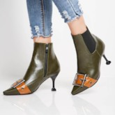 Pointed Toe Patchwork Buckle Stiletto Heel Unique Women's Ankle Boots