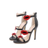 Stiletto Heel Heel Covering Open Toe Zipper Lips Decorated Sandals
