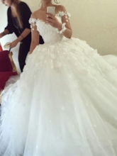 Illusion Neck Long Sleeve Flowers Ball Gown Wedding Dress