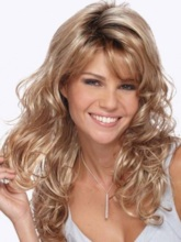 Long Big Curly Layered Hairstyle with Full Fringe Synthetic Capless Women Wigs 24 Inches