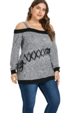 Slash Neck Lace-Up Plus Size Women's Sweater