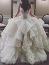 Sweetheart Beading Tiered Lace Ball Gown Wedding Dress