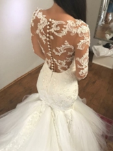 Button Back Appliques Mermaid Wedding Dress 2019