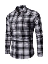 Slim Plaid Lapel Men's Shirt