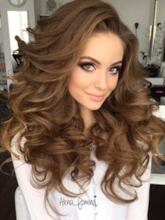 Long And Curly Layered Hairstyle with Full Fringe Synthetic Capless Women Wigs 24 Inches