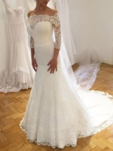 Trumpet 3/4 Length Sleeves Lace Wedding Dress