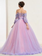 Beading Floor-Length Ball Gown Half Sleeves Quinceanera Dress 2019