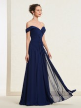 Off-The-Shoulder Pleats Long Prom Dress