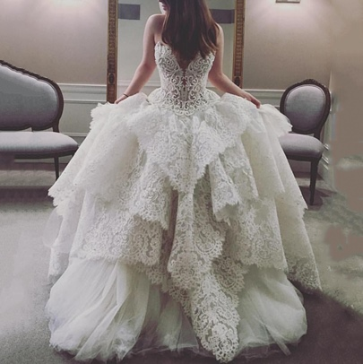 Sweetheart Beading Tiered Lace Ball Gown Wedding Dress Sweetheart Beading Tiered Lace Ball Gown Wedding Dress