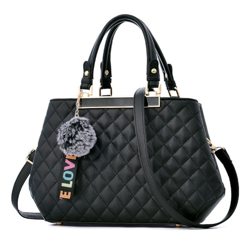 Quilted Lining Plaid Thread PU Tote Bags