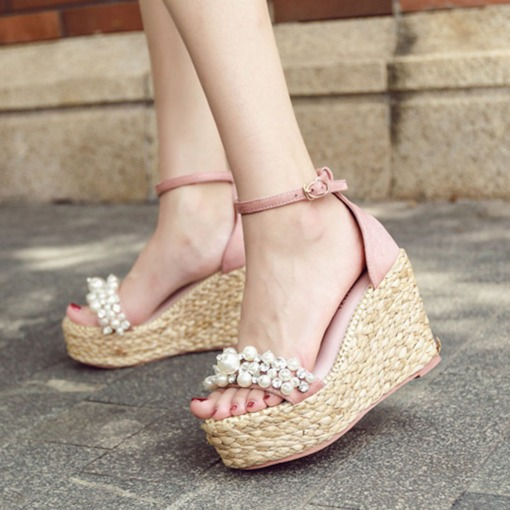 Wedge Heel Line-Style Buckle Heel Covering Open Toe Espadrille Sandals