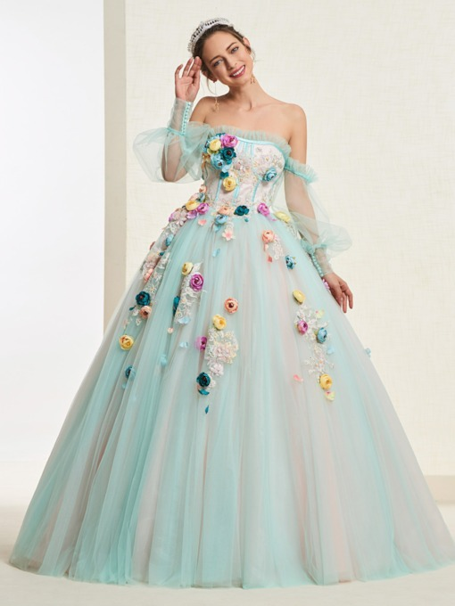 Ball Gown Flowers Off-The-Shoulder Long Sleeves Quinceanera Dress