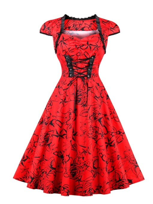 Knee-Length Sweetheart Red A-Line Cocktail Dress