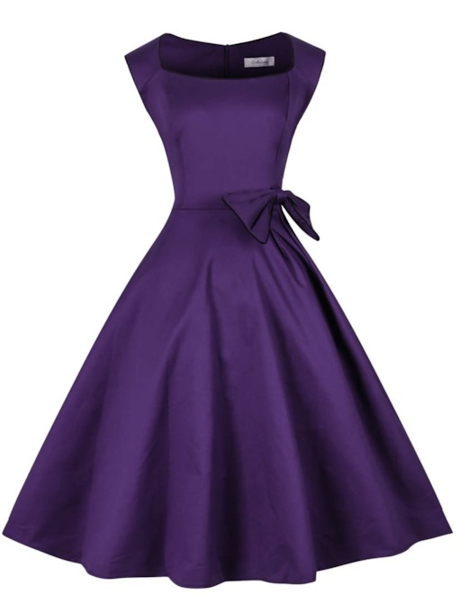 Square A-Line Knee-Length Purple Cocktail Dress