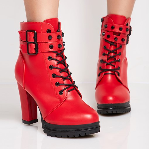 Side Zipper Round Toe Chunky Heel Rivet Lace-Up Ankle Boots