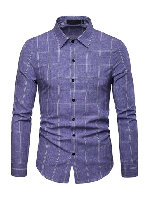 Plaid Lapel Casual Slim Men's Shirt