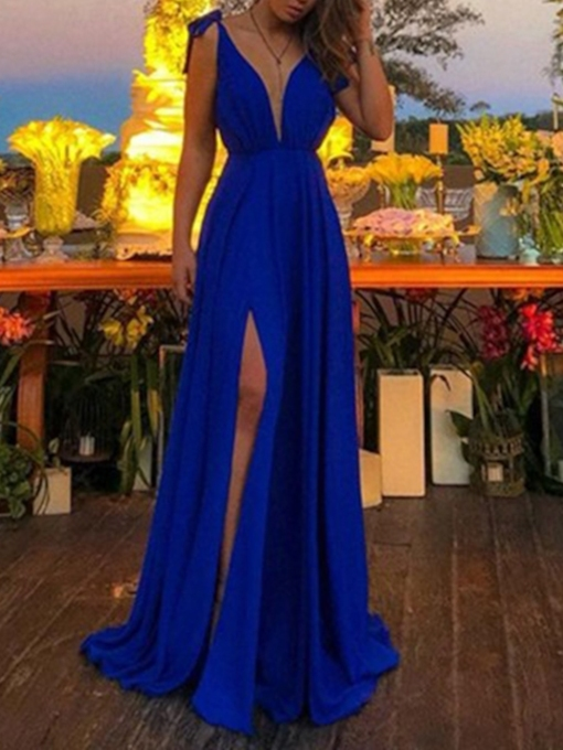 V-Neck Sleeveless Split-Front A-Line Prom Dress