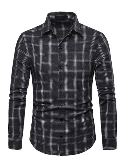 Plaid Casual Lapel Slim Men's Shirt